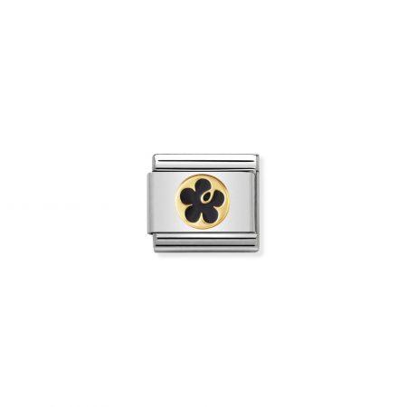 Nomination Link composable classic élégance fleur noire contour or