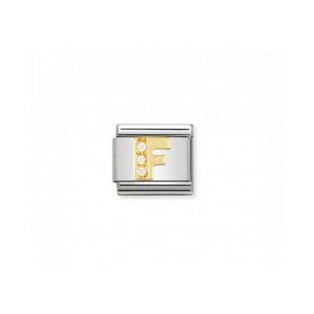 Nomination Link composable classic lettre f en or et pierres