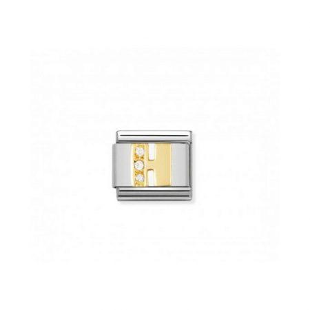 Nomination Link composable classic lettre h en or et pierres