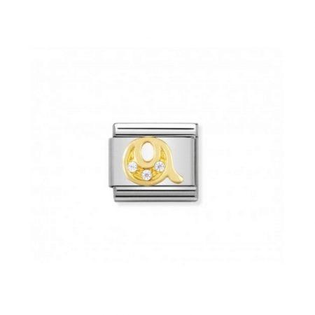 Nomination Link composable classic lettre q en or et pierres
