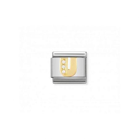 Nomination Link composable classic lettre u en or et pierres