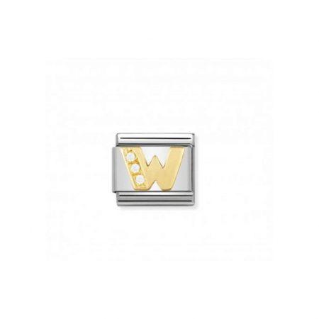 Nomination Link composable classic lettre w en or et pierres