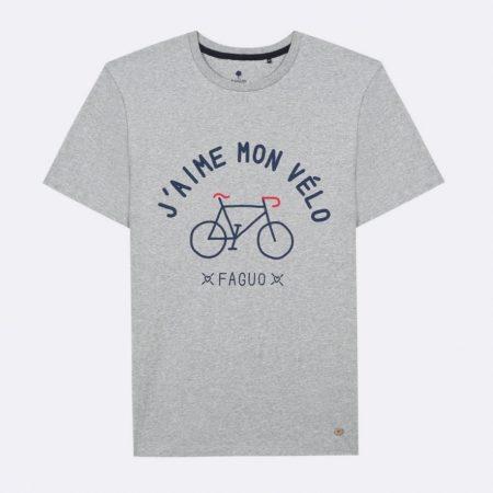 "Faguo T-shirt ""j'aime mon vélo"" en coton gris"