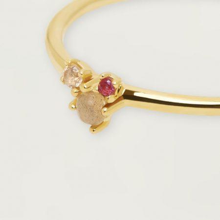 PDPAOLA Collection ATELIER - ROSÉ BLUSH - Bague en argent doré avec pierres naturelles et semi-précieuses.