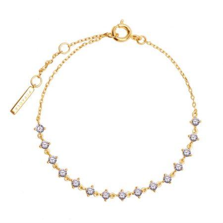 PDPAOLA Collection CAVALIER - VICTORIA - Bracelet en argent doré avec oxydes de zirconium lavande.
