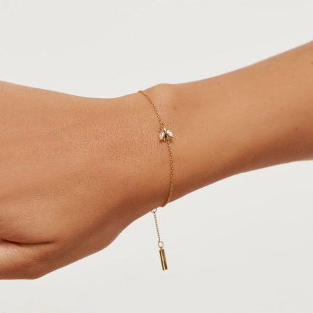 PDPAOLA Collection ZAZA - BUZZ GOLD - Bracelet en argent doré avec oxydes de zirconium.