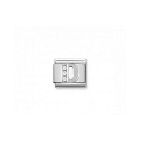 Nomination Link composable classic lettre d en argent et cubic zirconia