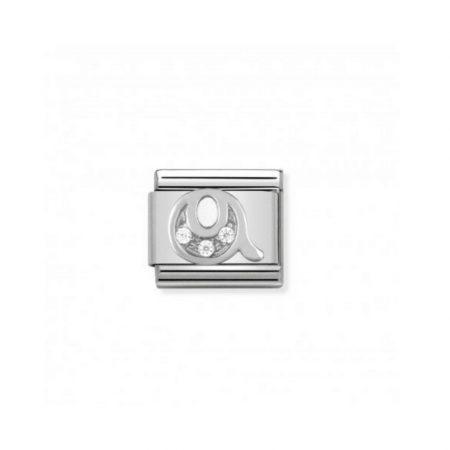 Nomination Link composable classic lettre q en argent et cubic zirconia