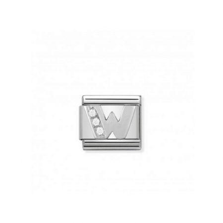 Nomination Link composable classic lettre w en argent et cubic zirconia