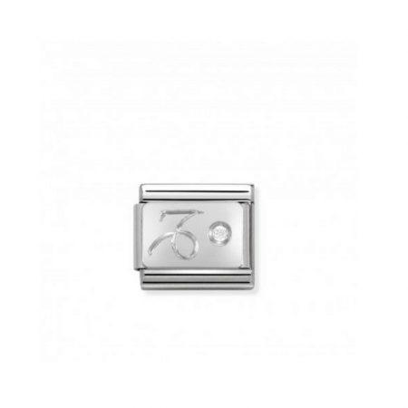 Nomination Link composable classic capricorne en argent et cubic zirconia