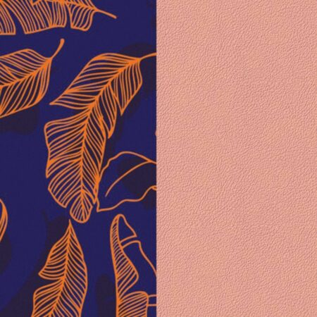 Les Georgettes Cuir motif Plumage/Rose Clair