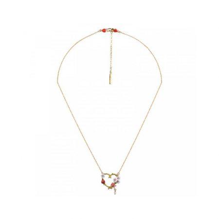 Les Néreides Collier doré avec pendentif cœur coccinelle et fleurs blanches