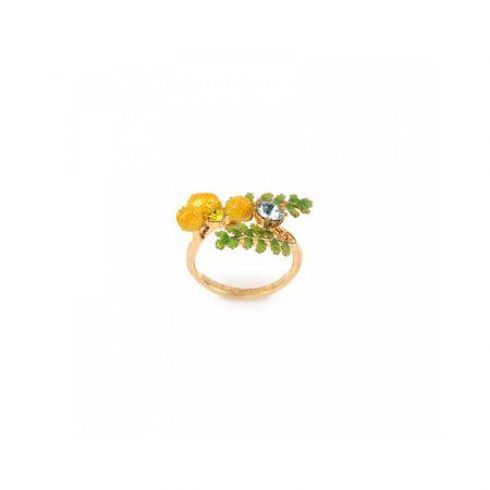 Les Néreides Bague dorée feuilles et fleur de mimosa