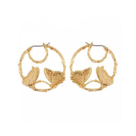 Les Néreides Boucle d'oreilles créoles dorées duo papillons