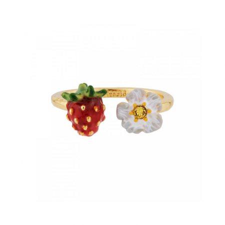 Les Néreides Bague dorée fraise et fleur