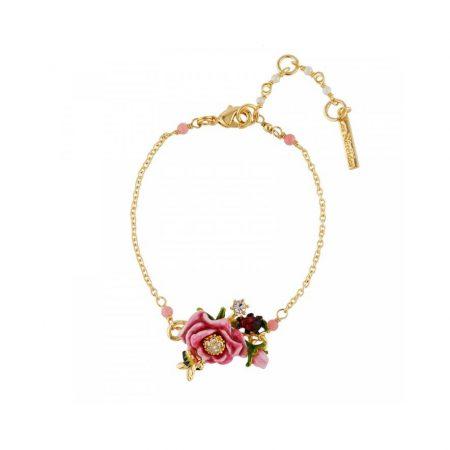 Les Néreides Bracelet doré fleur rose