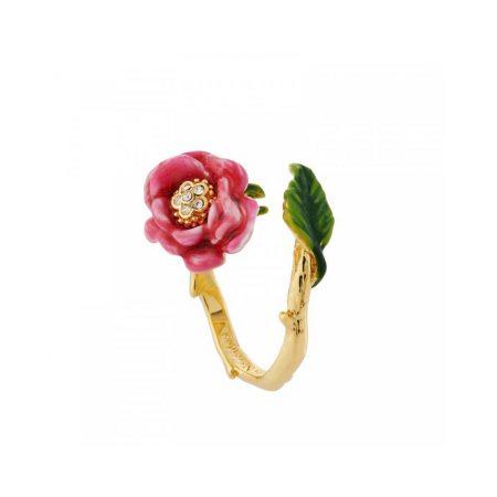 Les Néreides Bague dorée fleur rose