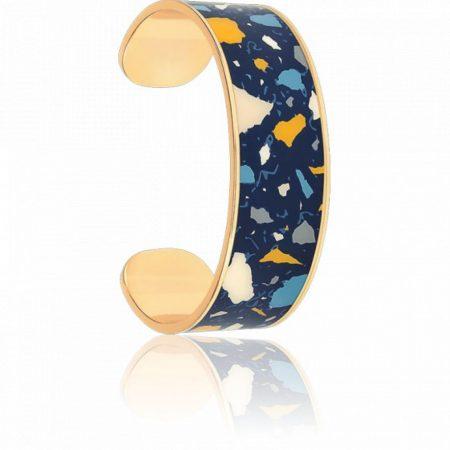 BANGLE UP Bracelet terazzo manchette large Bleu nuit