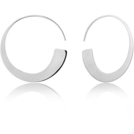 ANIA HAIE Boucles d'oreilles minces à anneaux argentées Geometry