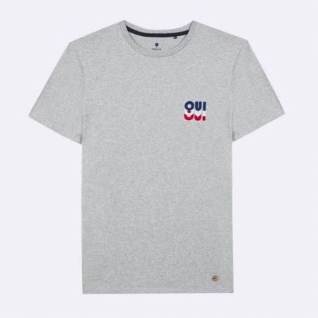 "Faguo T-shirt ""oui oui oui"" en coton gris"