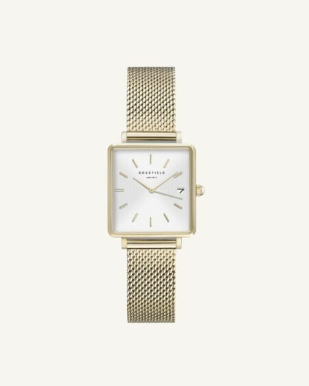 Rosefield The Boxy XS Blanc Sunray Mailles 22mm
