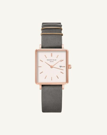 Rosefield The Boxy Gris Iphant - Or Rose 33mm