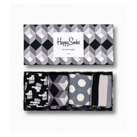 Happy Socks Black And White Gift Box 4-pack